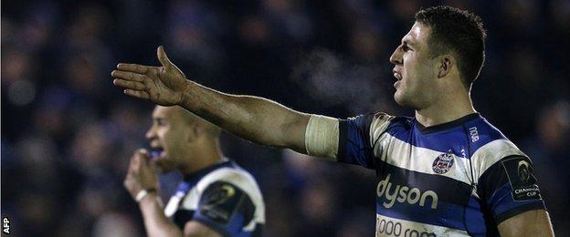 Sam Burgess gestures during the win over Montpellier