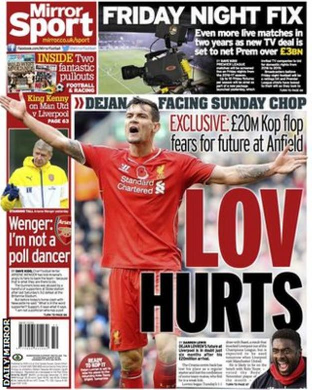 Saturday's Daily Mirror back page