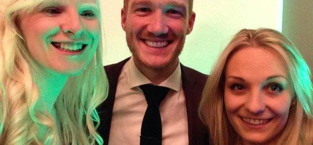Greg Rutherford (centre) with Kelly Gallagher (left) and Charlotte Evans (right)