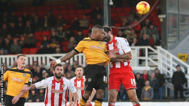 Aaron O'Connor heads Newport County in front against Stevenage