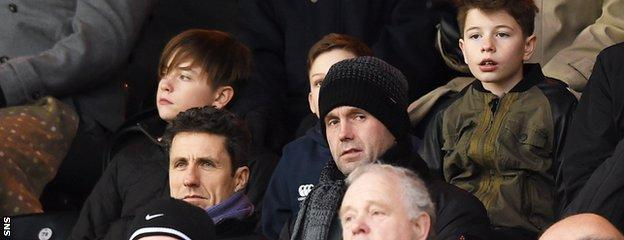The Celtic management team of Ronny Deila and John Collins were at Tannadice