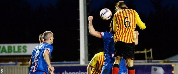 Conrad Balatoni scores for Partick Thistle against Inverness Caledonian Thistle