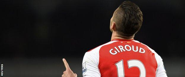 Olivier Giroud celebrates scoring for Arsenal against Newcastle United