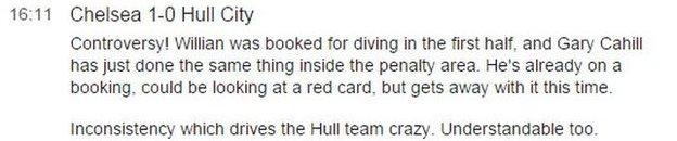 Gary Cahill dive description