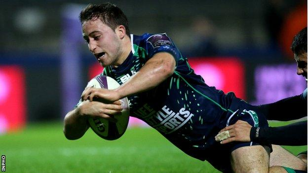 Twenty-year-old scrum-half Caolin Blade scored two tries on his first start for Connacht