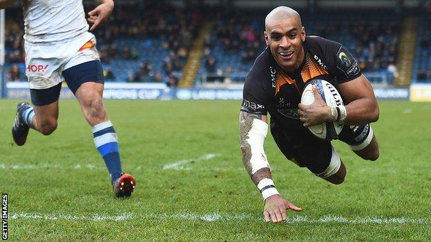 Tom Varndell scores his second try against Castres on Sunday