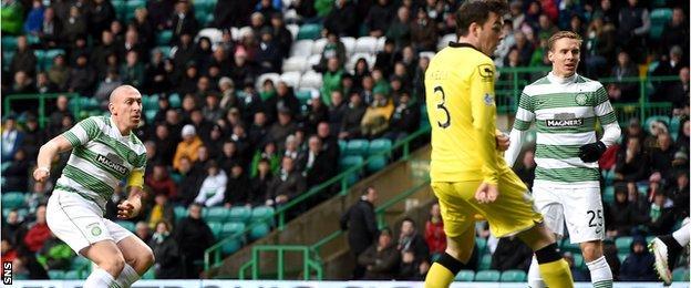 Scott Brown (far left) scores for Celtic against St Mirren