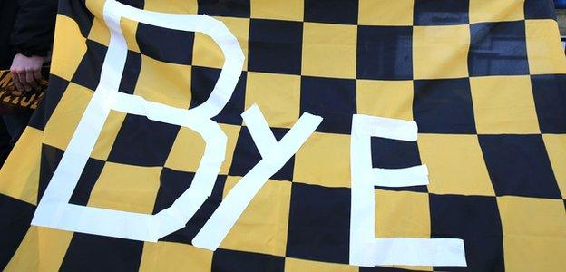 A fan's banner says bye to Wasps