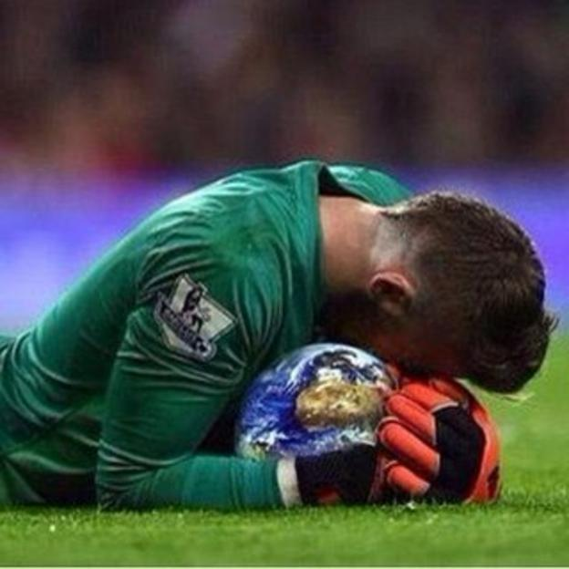 Internet virals about Man United keeper David De Gea include one of him saving the Earth