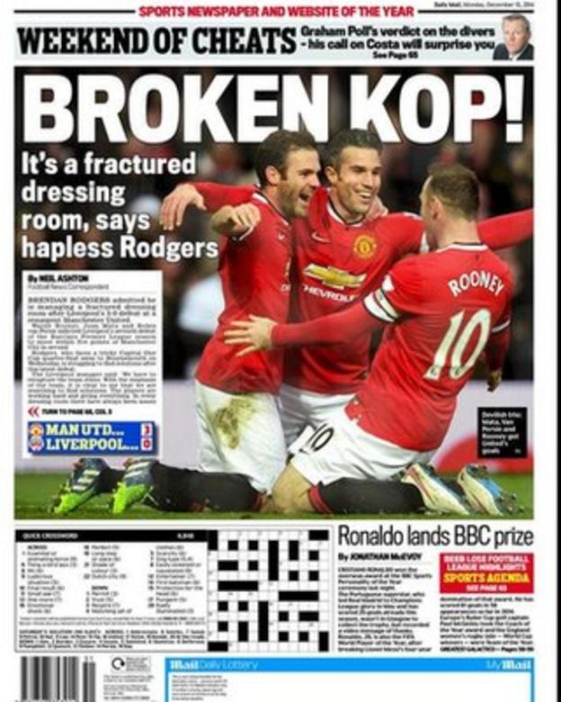 Monday's Daily Mail back page