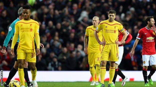 Liverpool players cut forlorn figures against Manchester United at Old Trafford