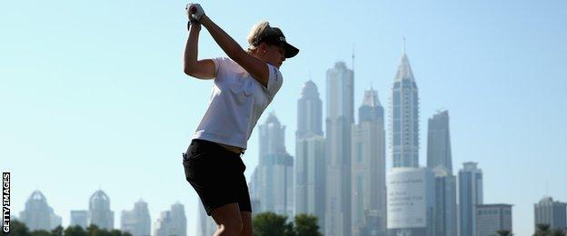 Charley Hull tees off on the eighth hole during the third round of the Omega Dubai Ladies Masters