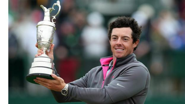 Rory McIlroy lifts the Claret Jug after winning The 2014 Open Championship at Royal Liverpool in July. McIlroy saw off Rickie Fowler and Sergio García to capture the third major of his career.