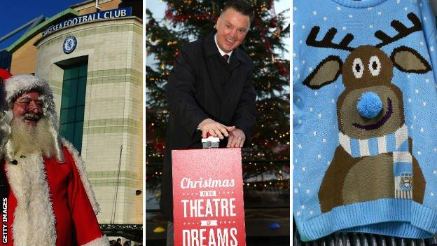 Santa at Stamford Bridge, Louis van Gaal, Manchester City Christmas jumper