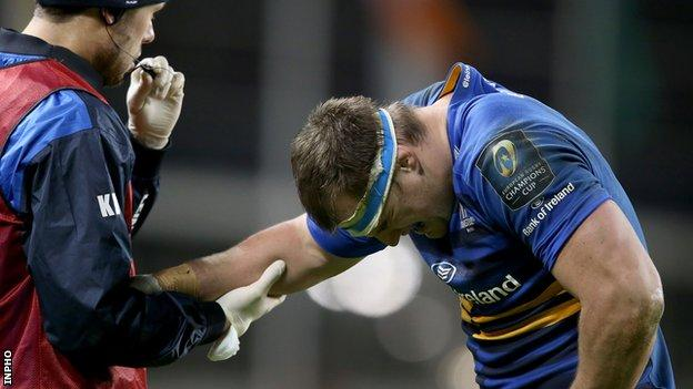 Rhys Ruddock looks in pain after sustaining the injury in Saturday's win over Harlequins