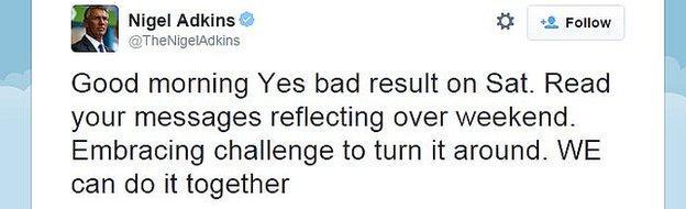 Nigel Adkins tweet