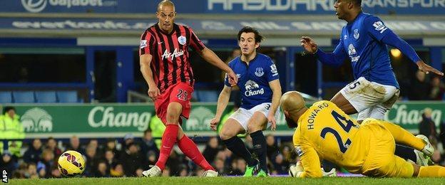 QPR striker Bobby Zamora scores against Everton