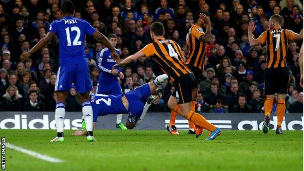 Gary Cahill in action for Chelsea against Hull