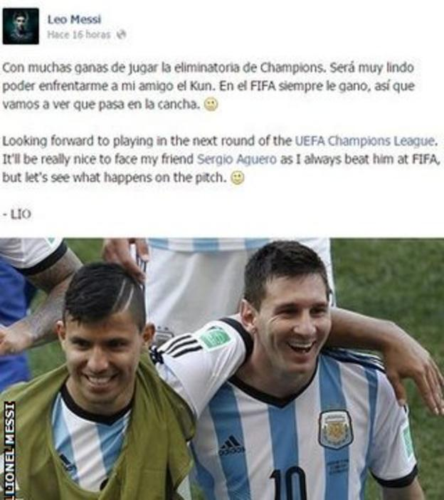 Lionel Messi's Facebook post