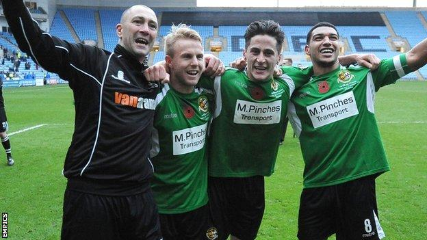 Carl Heeley, Danny Jackman, George Williams and Ellis Deeney celebrate City's first round win at Coventry