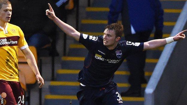 Tony Dingwall celebrates scoring against Motherwell
