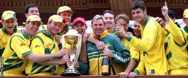 Australia with the Cricket World Cup in 1999