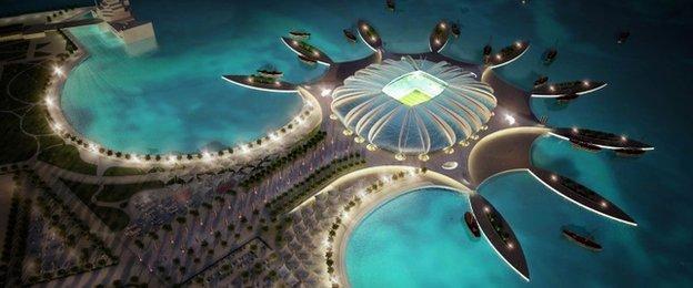 Artist's impression of the Doha Port stadium in Qatar
