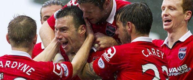 Paul Quinn celebrates a goal for County