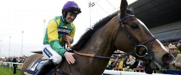 Kauto Star and Ruby Walsh celebrate the King George VI Chase victory