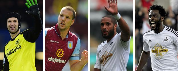 Chelsea's Petr Cech, Aston Villa's Ron Vlaar and Swansea duo Ashley Williams and Wilfried Bony