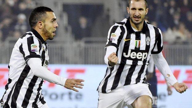 Carlos Tevez (left) celebrates scoring for Juventus