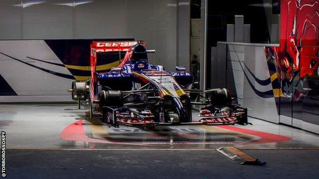Toro Rosso 2014 car in garage