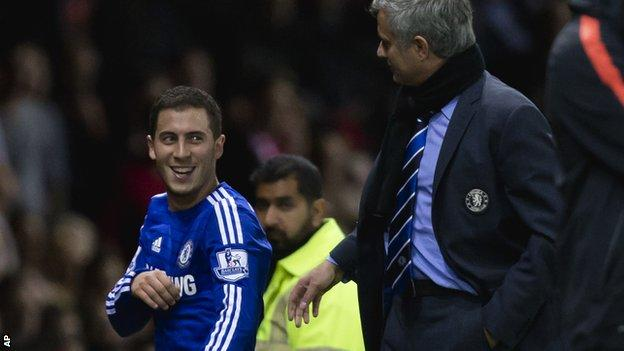 Eden Hazard and Jose Mourinho