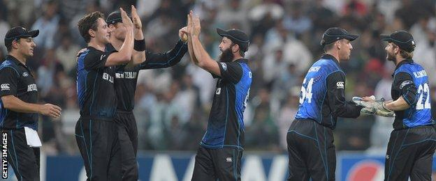 New Zealand celebrate during the fifth and final one-day international