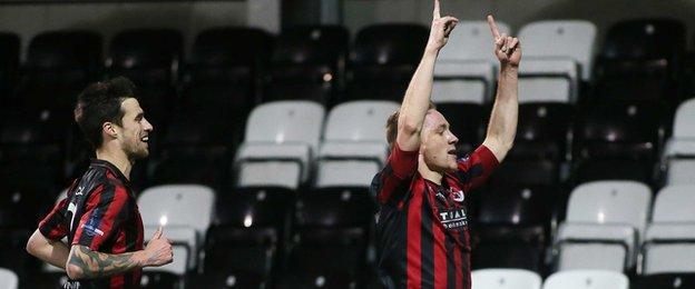 Former Dungannon striker Timmy Adamson celebrates after his first-half goal