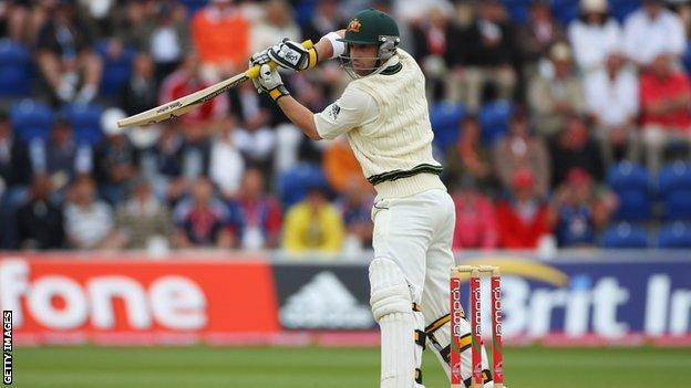 Phillip Hughes made 36 runs for Australia in Cardiff in what was his first Ashes Test