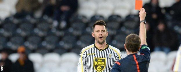 St Mirren captain Stephen Thompson is sent off