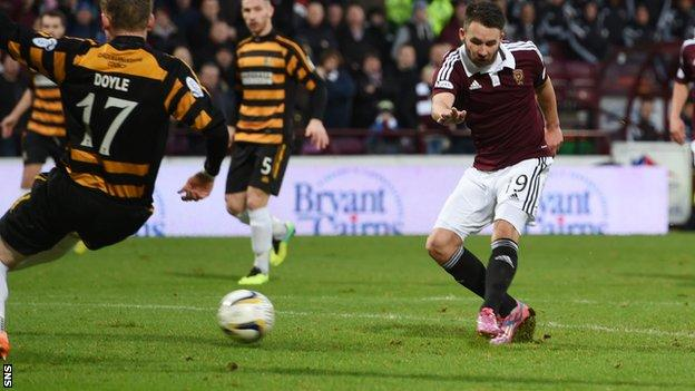 James Keatings scores for Hearts against Alloa