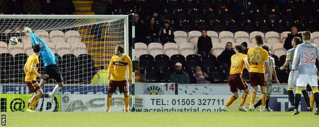 Kenny McLean's header strikes the underside of the Motherwell bar