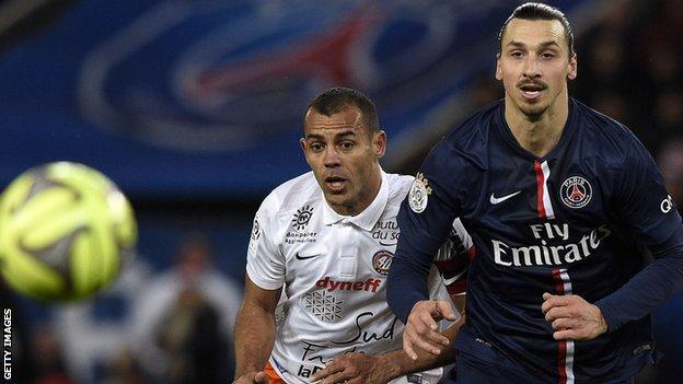 PSG striker Zlatan Ibrahimovic (right) and Montpellier defender Vitorino Hilton