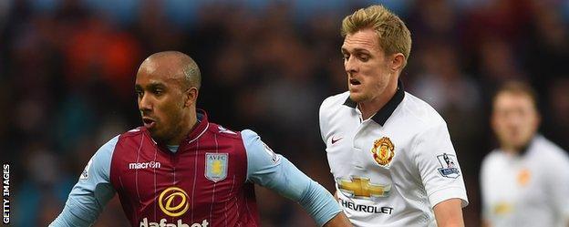 Darren Fletcher (right) in action against Aston Villa