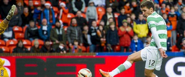 Celtic's Stefan Scepovic has a goal ruled out for offside against Dundee United