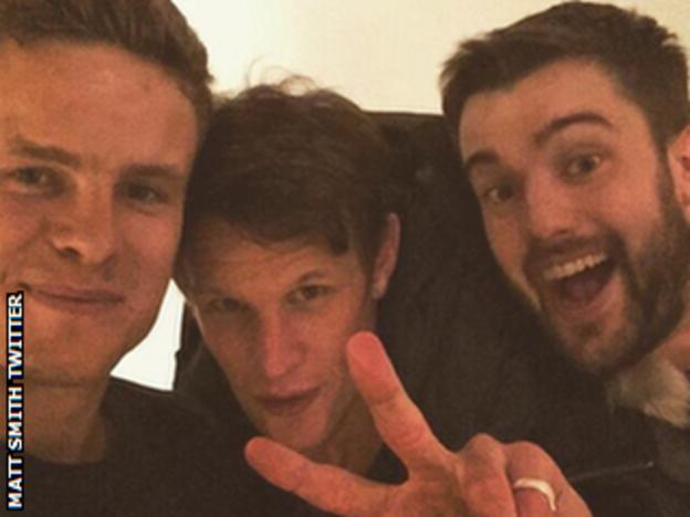 Matt Smith (left) with namesake actor (centre) and Jack Whitehall