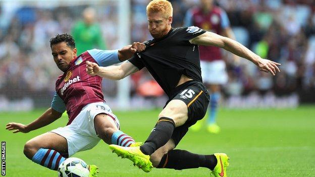 Hull City's Paul McShane tackles Kieran Richardson of Aston Villa