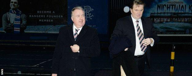 Rangers chairman David Somers (left) and shareholder Sandy Easdale arrive at the club's AGM