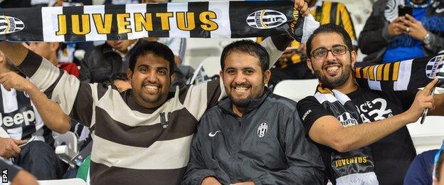 Juventus fans in Doha's Jassim Bin Hamad stadium