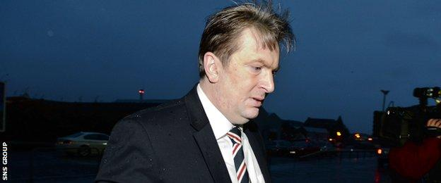 Sandy Easdale arrives for the AGM at Ibrox