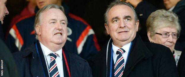 Rangers Chairman David Somers (left) with chief executive Derek Llambias