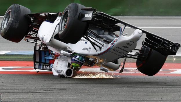 Felipe Massa crashes out of the 2014 German Grand Prix