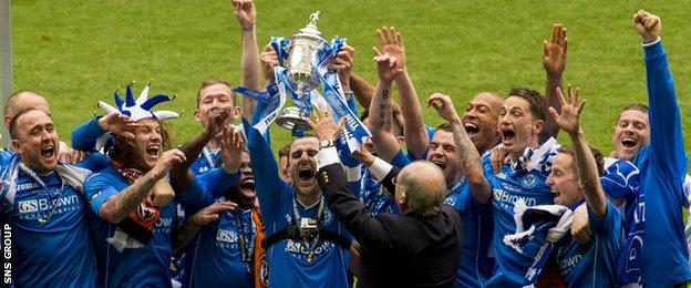 St Johnstone celebrate their Scottish Cup victory at Celtic Park